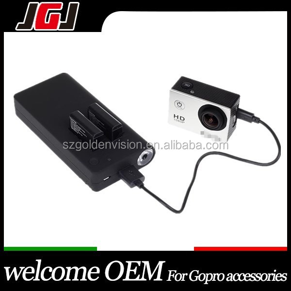 New for GoPro Camera Dual Battery Charger with Portable 7500mAh Power Bank for GoPro Hero 4 Accessories Top Quality