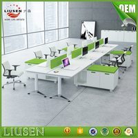 Factory direct Open Office Partition wooden 6 people office workstations modular with file cabinet
