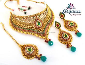 fd191ef4e Indian one gram gold plated kundan jewellery - Wholesale wedding wear necklace  set - Bollywood style