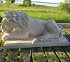 Custom made home gate decoration white marble stone lying lion guardian statue