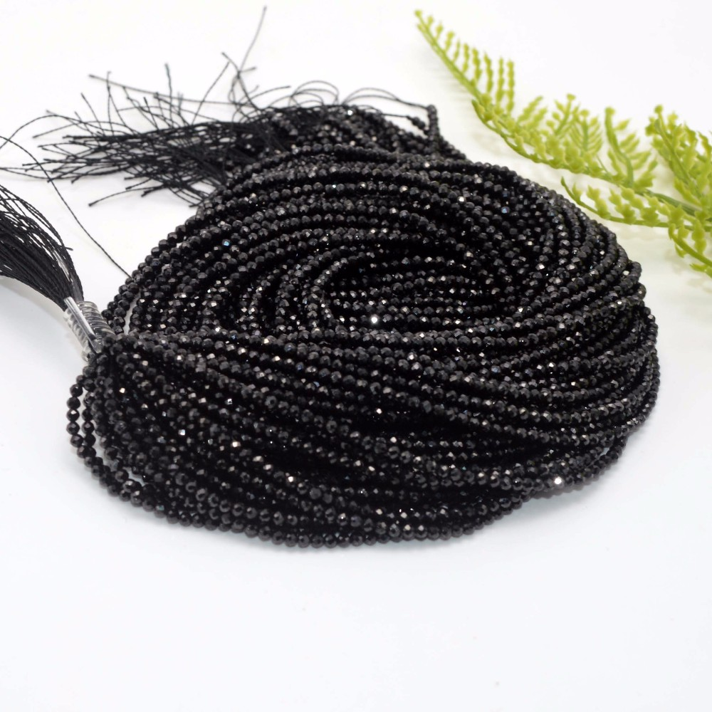 2mm 3mm 4mm Natural Black Spinel Faceted Loose Round Beads