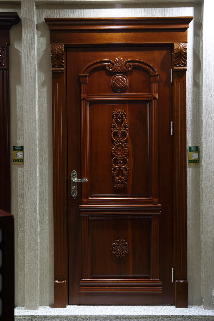 Modern design house front main safety entrance single door for Wooden single door design for home