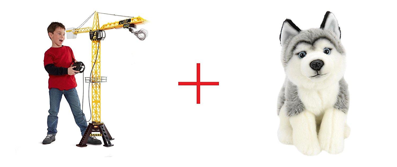 Fast Lane Mega Crane and Toys R Us Plush 10 inch Husky - Gray and White - Bundle