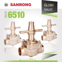 Sanrong 6510 6540 Brass Globe Valve, Air Conditioning Manual Shut Off Valve, Castel Valve for Refrigeration