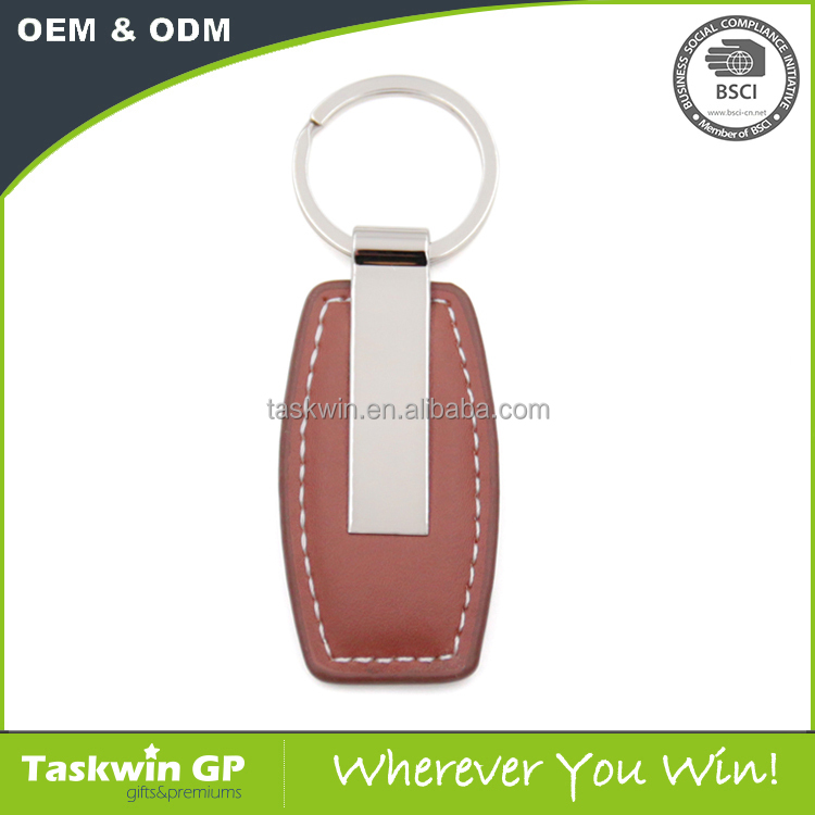 New fashion metal luxury key rings Brown leather keychain