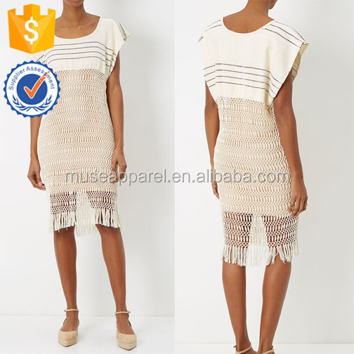 Ecru And Black Stripe Dress With Macrame Skirt OEM/ODM Women Apparel Clothing Garment Wholesaler Ropa Mujer