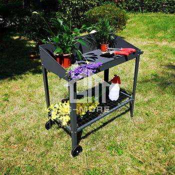 Versatile Balcony Garden Metal Steel Potting Bench With Wheels Product On