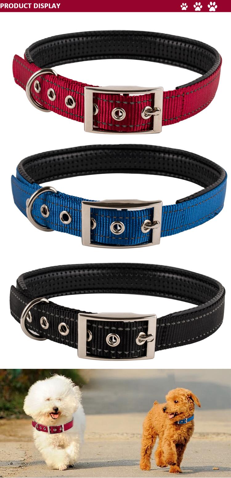 De servicio pesado Metal hebilla Collar de perro al por mayor de Collar de perro mascota suministros de Nylon ajustable Collar de perro Collar del animal doméstico