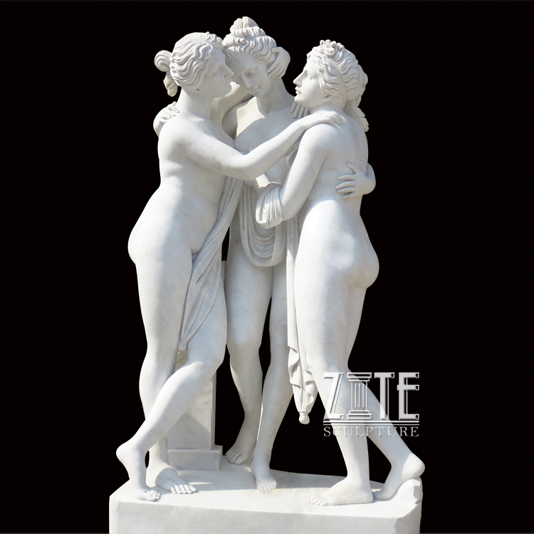 Classic Life Size Famous Sculpture Artists Three Graces Beauty Marble Sexy Nude Woman Statue