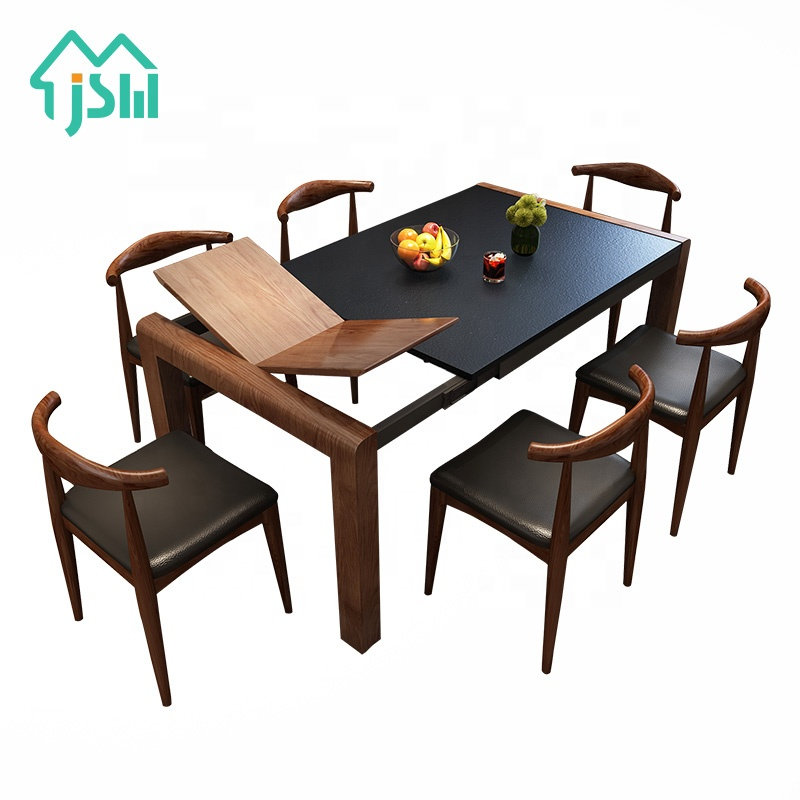 Jasiway Home Furniture Extendable Burning Stone Kitchen Wooden Dining Table With 6 Chairs Buy Wholesale Modern Dinning Set Table With Chairs Hot Sale Burning Stone Extendable Dining Table Furniture New Arrival Family Event