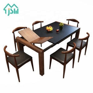 Jasiway home furniture extendable burning stone kitchen wooden dining table with 6 chairs