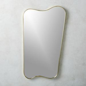 "39"" inch RIANHOU irregular shape gold wall mounted metal frame mirror decorative for living room"