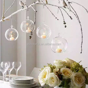 Decorative hanging glass ball tealight candle holder