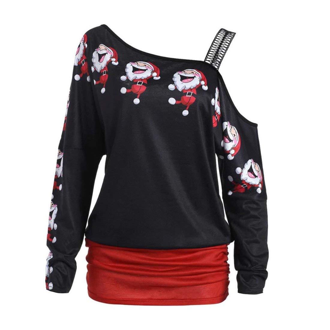 eab932ec99cd4 Get Quotations · HANYI Women Christmas Snowflake Print Long Sleeve Off  Shoulder Tunic Sweatshirt T-shirt Blouse Dress