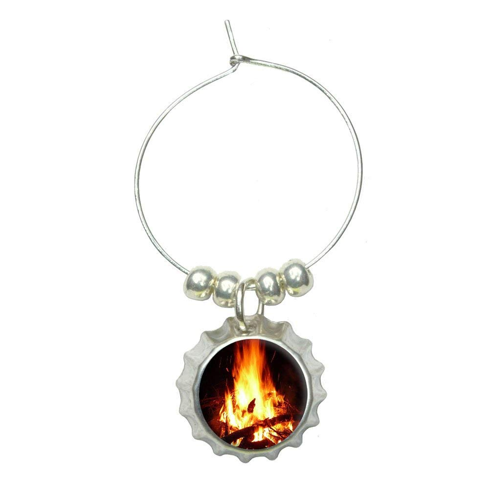 Campfire - Camp Camping Fire Pit Logs Flames Wine Glass Bottlecap Charm Drink Marker
