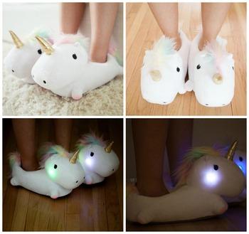UNICORN light up slippers cute animal slippers. Unicorn Light Up Slippers Cute Animal Slippers   Buy Fuzzy Animal