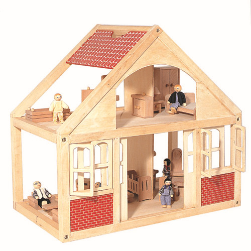 Wooden Two Floor Happy Family Doll House