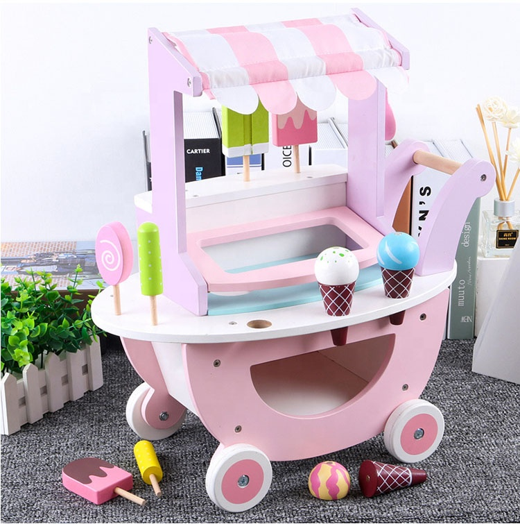 2-6 Years Old Child House Simulation Ice Cream Truck Girl Shopping Cart Toy Supermarket Cart Wooden Toy