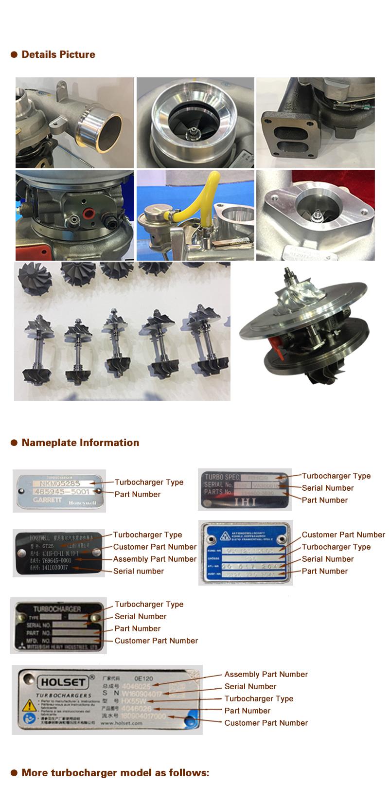 Các Xe Diesel Bộ Phận Động Cơ phổ Turbo Tăng Áp Turbone Turbocharger Đối Với Sâu Bướm 4LF302-1W9383 1W9383