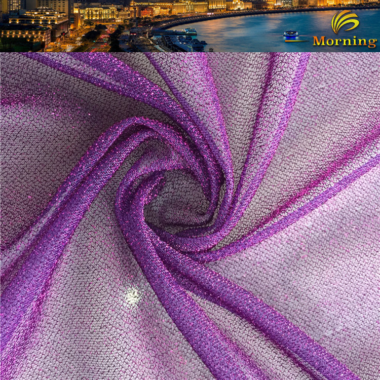 Mid East Textile Exporter 60gsm Metallic Purple Net Tutu Dress Interlock Fabric