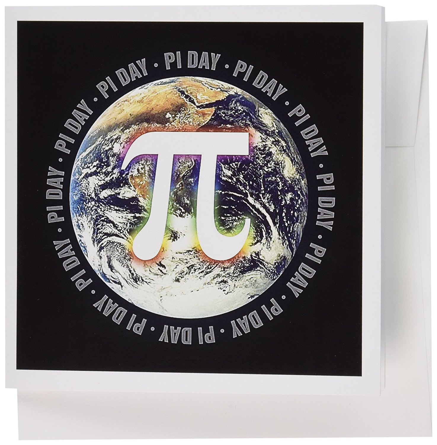 3dRose Pi Day on Earth Symbol on black background - Greeting Cards, 6 x 6 inches, set of 12 (gc_24324_2)