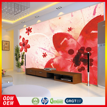 2017 New Design Beautiful Big Red Flower Wall Murals Large Size