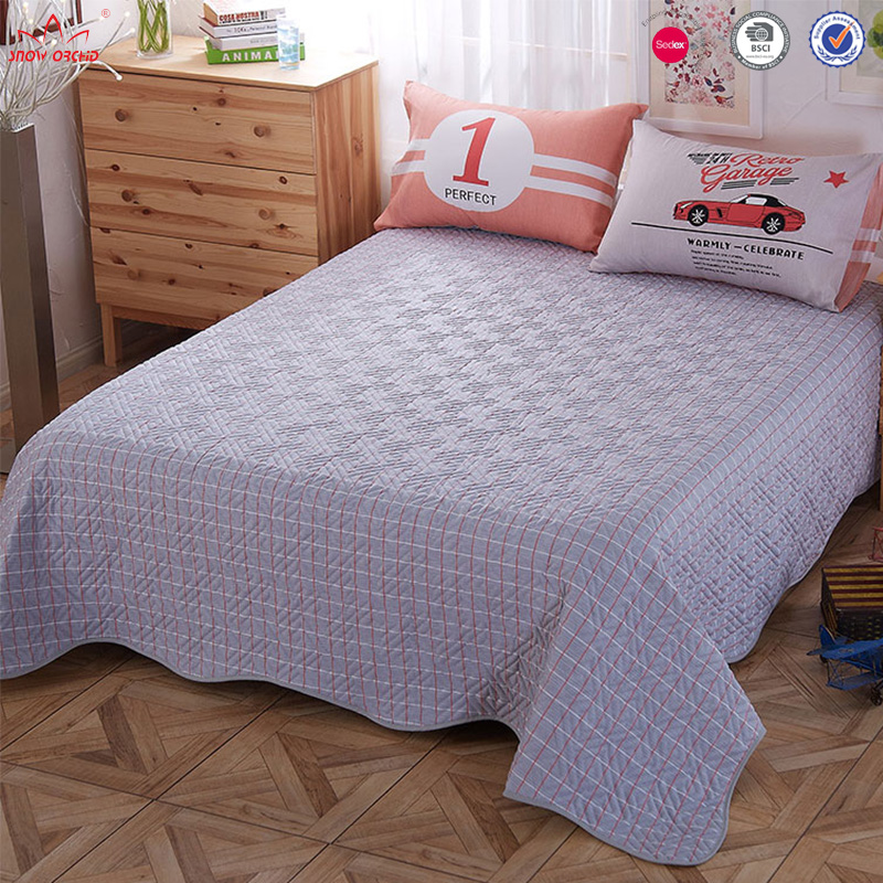 Groothandel dekbed sets beddengoed plaid print streep kid auto patroon naaimachine quilt