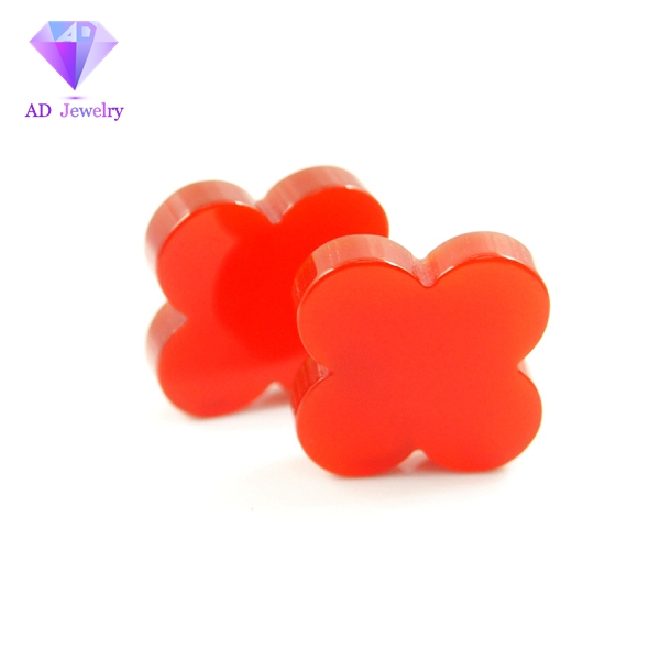 High quality red color agate four leaf clover slice