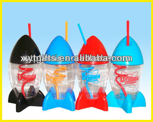 Walmart factory hot sale 16 oz rocket shape sport plastic bottle kids water bottle manufacturer
