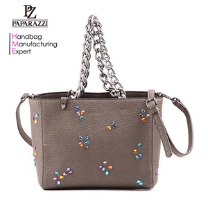 4564- Guangzhou Professional Handbag Supplier Fashion Designer Handbags Studs Trimming Tote Bag with Chain Handle for Women