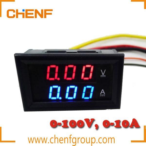 DC 0-100 V 0-10 A Bleu DEL Rouge Dual Digital Panel voltmètre ampèremètre Compteur Jauge