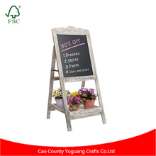 Decorative Vintage White Washed Brown Wood Large Freestanding Chalkboard Message Board Easel with Storage Tray