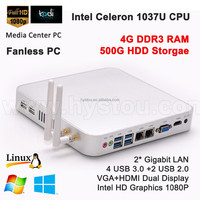 New Cheap Desktop Computer Intel Celeron 1037u Atom Fanless Mini PC Windows 8/Ubuntu/Linux Processor DDR3 4G RAM 500G HDD USB3.0