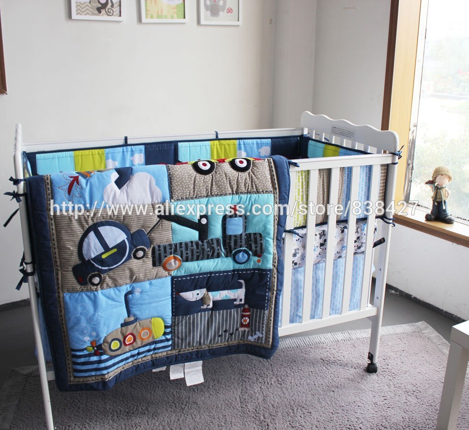 Dog Car Boy Baby Cot Crib Bedding Set
