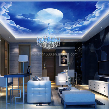3D Sky Cloud Ceiling Wallpaper Washable Mural For Kid Room