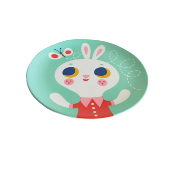 Animal del pattern melamine dinner plates plastic flat plate for children
