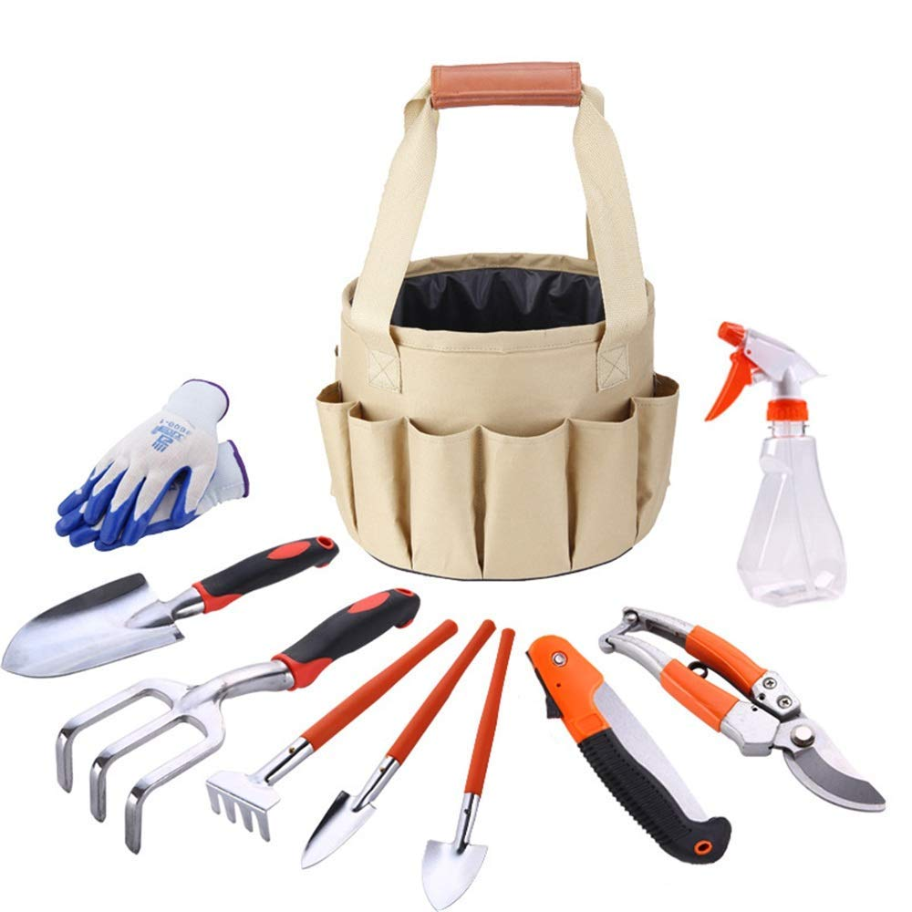 Sunmiao 9 Pce Garden Tools Set Gardening Kits Aluminum Alloy Including Gloves Tote And Pruning Shears