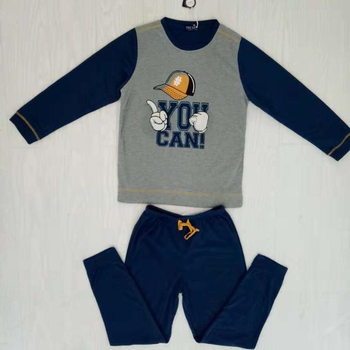 Boy baseball cap printed pattern warm home service suit