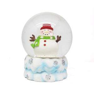 white snowman christmas snow globe with blowing snow