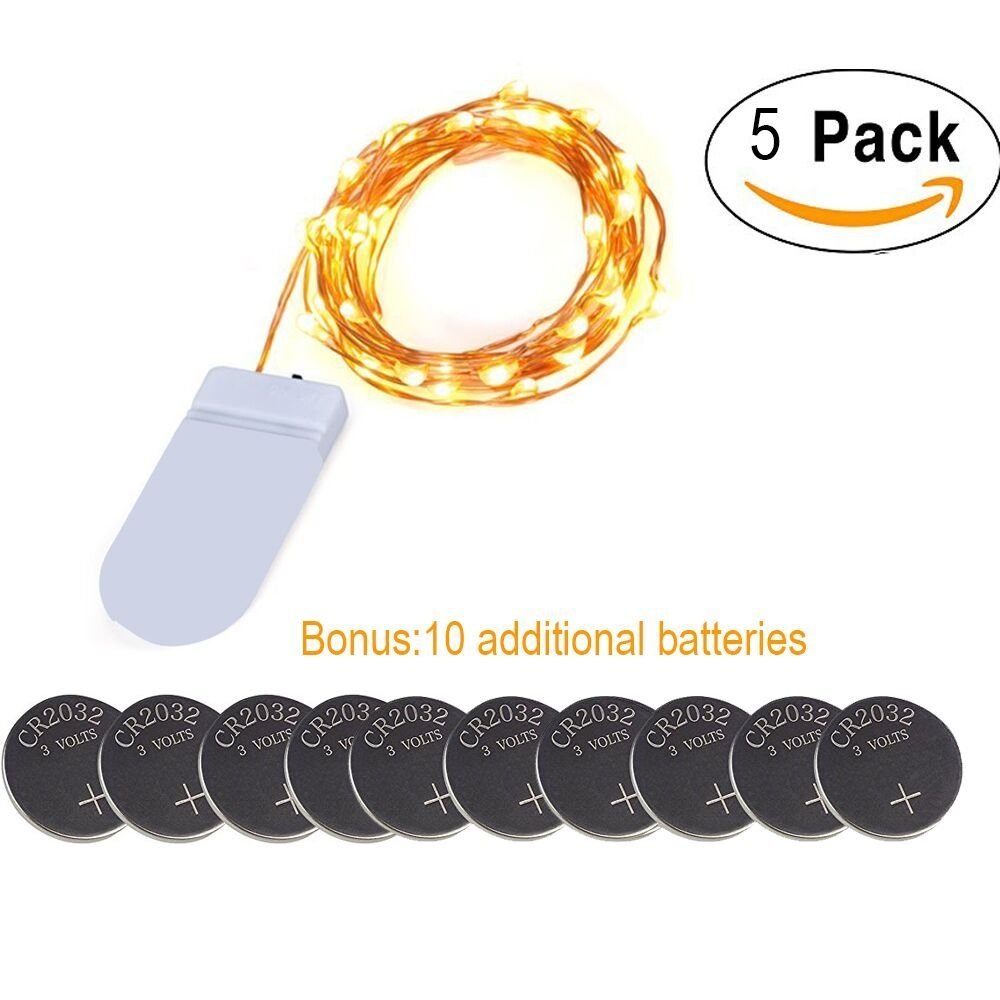 (5 Sets)Battery Powered Christmas Lights,7.78ft 20 LEDs Flexible Portable Copper Wire Lights Battery Operated, Christmas Home Decorative LED Lights,Extra Backup 10 pcs CR2032 Battery Available
