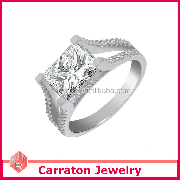 925 Silver Jewelry Rhodium Plated Rectangle Shape Semi Mount Ring