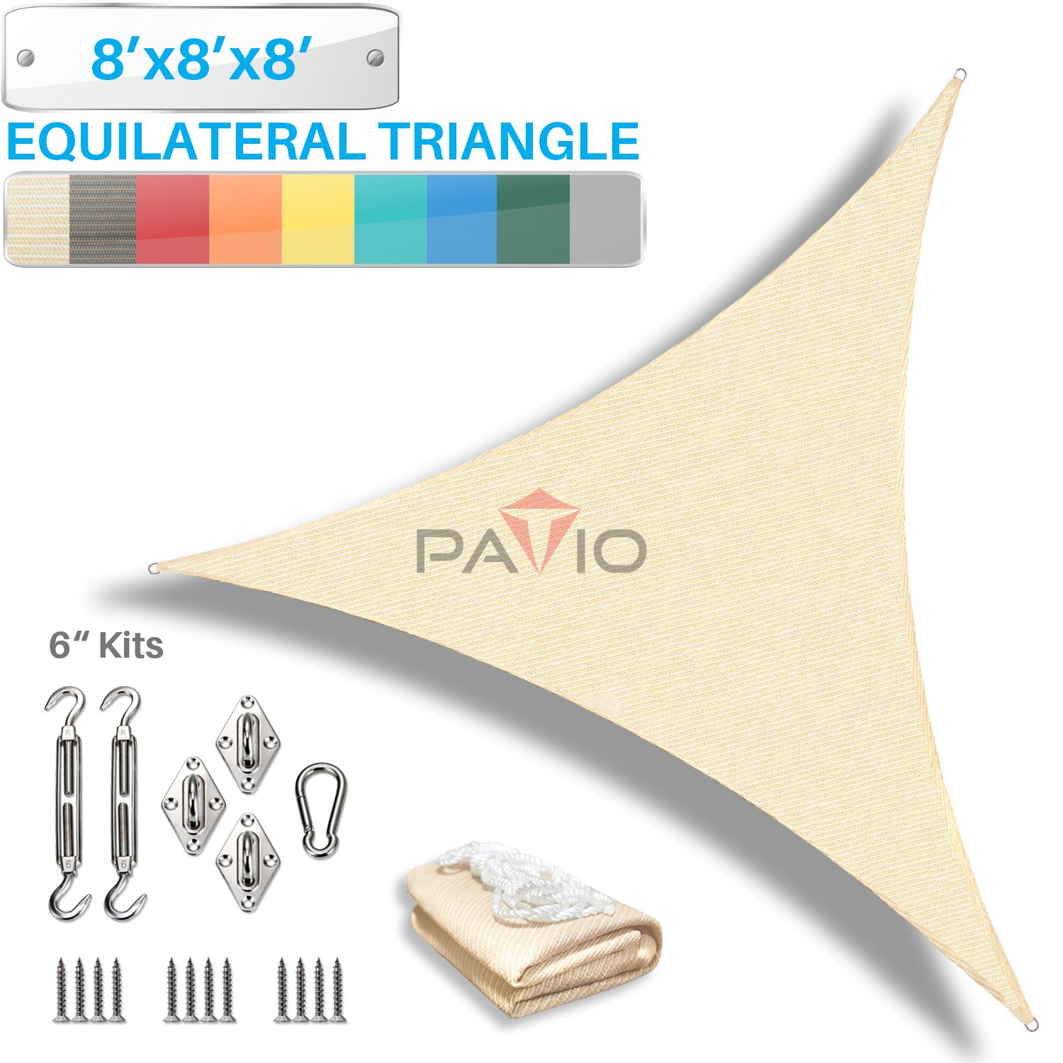 Patio Paradise 3 x 5 Sun Shade Sail with 6 inch Hardware Kit Beige Rectangle Canopy Durable Shade Fabric Outdoor UV Shelter Cover 3 Year Warranty Custom