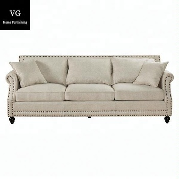 French Style Upholstery Sofa Linen Fabric Sofa Fabric Wooden Sofa ...