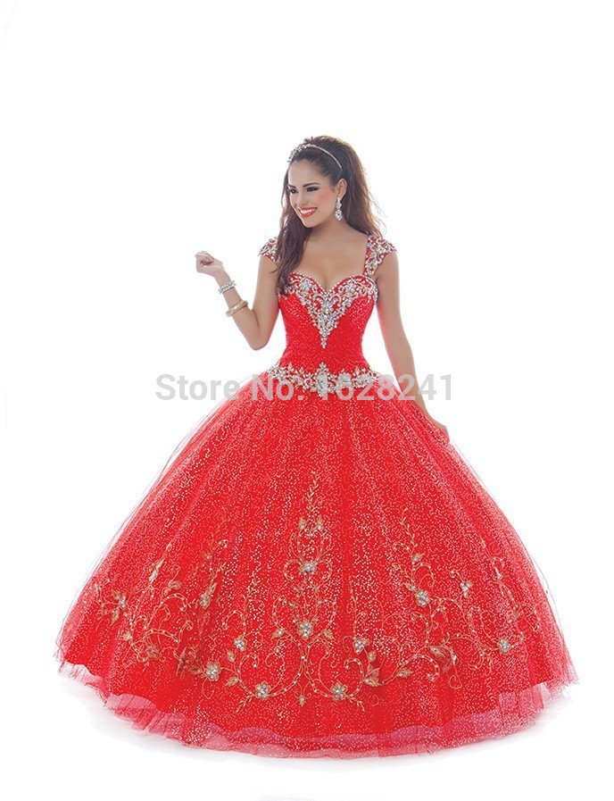 676d1eaf44b0 Sexy Red Tulle Sparkly Full Sequins Quinceanera Dresses appliques Crystals  Cap Sleeve 2015 Luxury Vestidos De