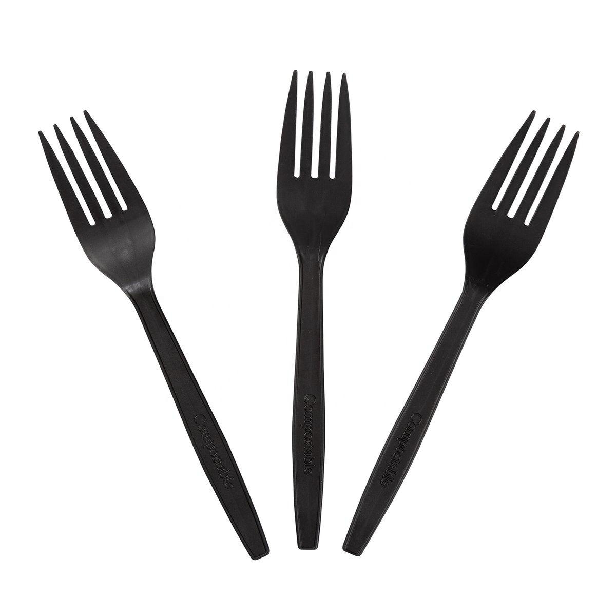 Eco biodegradable disposable takeaway CPLA black fork