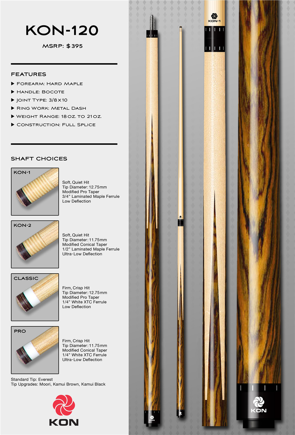 KON-120 wholesale of imported genuine snooker and billiard pool cues of OB pool cue