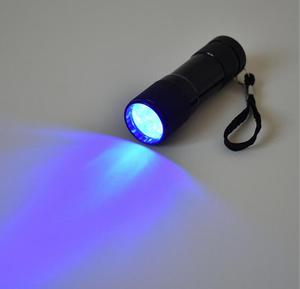 Black 9 LED UV Camping Scorpions Ultra Violet Flashlight Torch