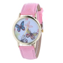 2017 Best seller waterproof casual woman watch butterfly image leather quartz watch