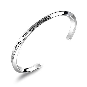 MECYLIFE New Twist Bangle I Love You To The Moon And Back Inspirational Jewelry Bracelet