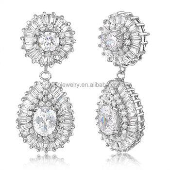 Wedding Gold Jewelry Indian Long Hanging Tanishq Diamond Earrings